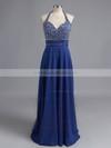 A-line Chiffon Halter Floor-length Beading Prom Dresses #LDB02022527