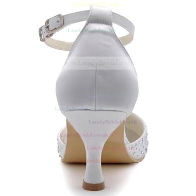 Women's Satin with Buckle Crystal Spool Heel Pumps Closed Toe #LDB03030135