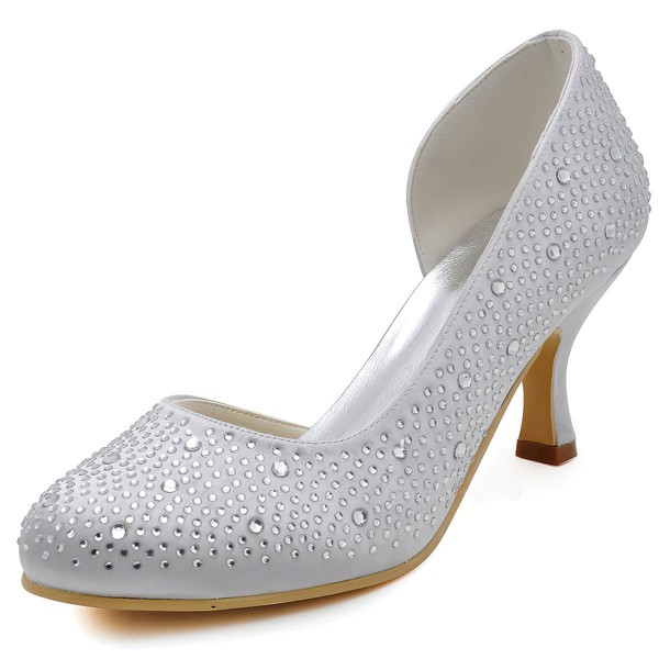 Women's Satin with Crystal Spool Heel Pumps Closed Toe #LDB03030136