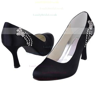 Women's Satin with Crystal Stiletto Heel Pumps Closed Toe #LDB03030137