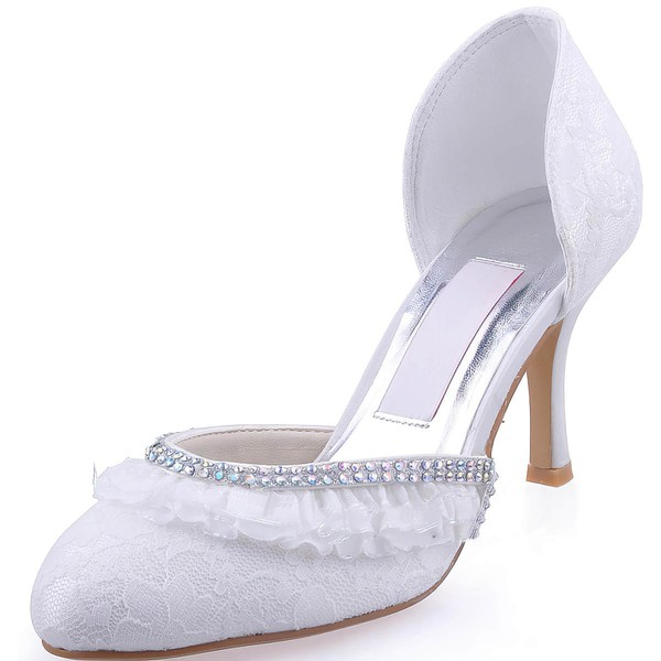 Women's Lace with Stitching Lace Crystal Stiletto Heel Pumps Closed Toe