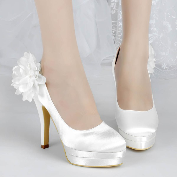 Women's Satin with Flower Stiletto Heel Pumps Closed Toe Platform #LDB03030139