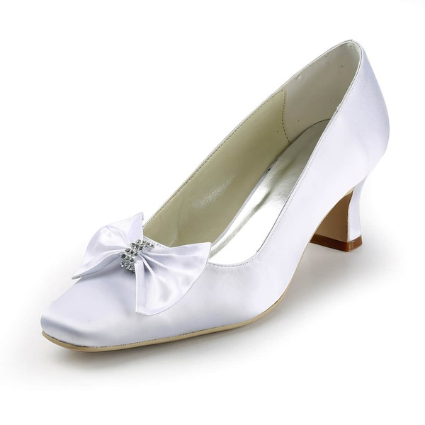 Women's Satin with Bowknot Crystal Chunky Heel Pumps Closed Toe #LDB03030140