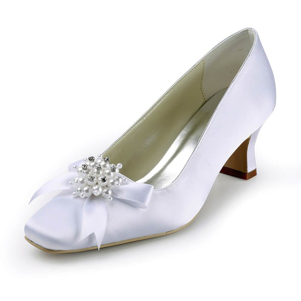 Women's Satin with Imitation Pearl Ribbon Tie Chunky Heel Pumps Closed Toe #LDB03030141
