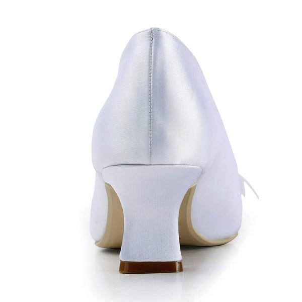 Women's Satin with Imitation Pearl Ribbon Tie Chunky Heel Pumps Closed Toe