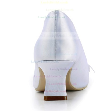 Women's Satin with Imitation Pearl Ribbon Tie Chunky Heel Pumps Closed Toe #LDB03030141