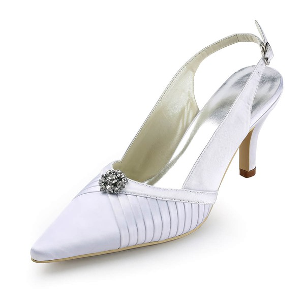 Women's Satin with Crystal Stiletto Heel Pumps Closed Toe Slingbacks #LDB03030142
