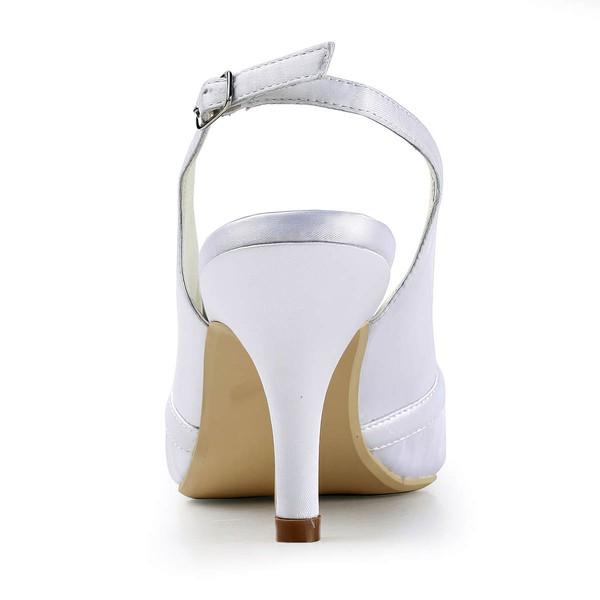 Women's Satin with Crystal Stiletto Heel Pumps Closed Toe Slingbacks
