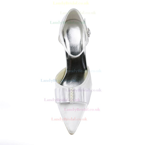 Women's Satin with Buckle Ribbon Tie Pearl Stiletto Heel Pumps Closed Toe