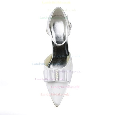 Women's Satin with Buckle Ribbon Tie Pearl Stiletto Heel Pumps Closed Toe #LDB03030144