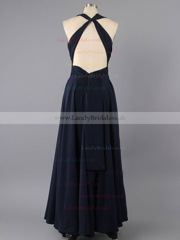 V-neck Open Back Pleats Dark Navy Elastic Woven Satin Sheath/Column Prom Dress #LDB02022591