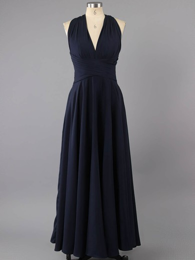 V-neck Open Back Pleats Dark Navy Elastic Woven Satin Sheath/Column Prom Dress #LDB02022591