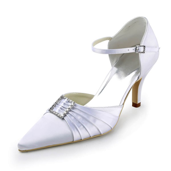Women's Satin with Buckle Ruffles Crystal Stiletto Heel Pumps Closed Toe