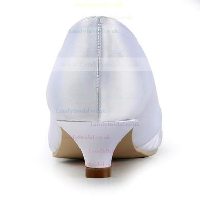 Women's Satin with Ruched Ribbon Tie Kitten Heel Pumps Closed Toe #LDB03030146