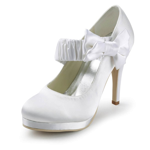 Women's Satin with Bowknot Stiletto Heel Pumps Closed Toe Platform #LDB03030147