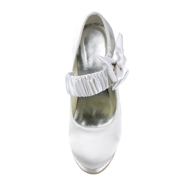 Women's Satin with Bowknot Stiletto Heel Pumps Closed Toe Platform