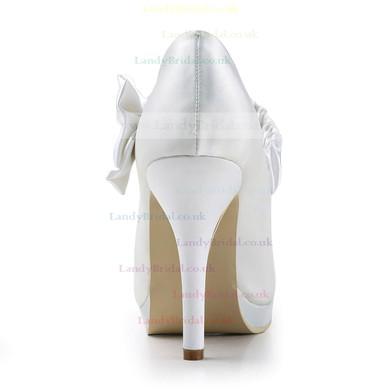 Women's Satin with Bowknot Stiletto Heel Pumps Closed Toe Platform #LDB03030147