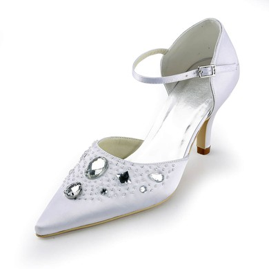 Women's Satin with Crystal Beading Buckle Spool Heel Pumps Closed Toe #LDB03030149