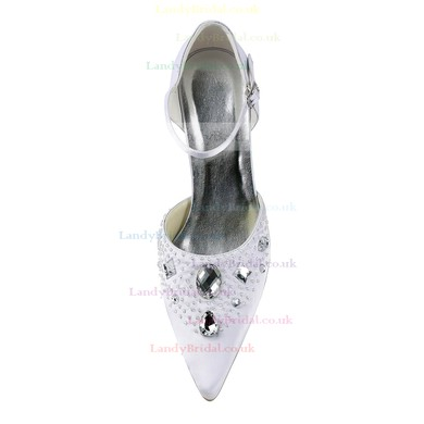 Women's Satin with Crystal Beading Buckle Spool Heel Pumps Closed Toe #LDB03030149