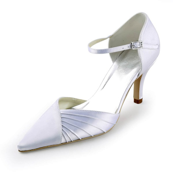 Women's Satin with Buckle Ruched Stiletto Heel Pumps Closed Toe #LDB03030150