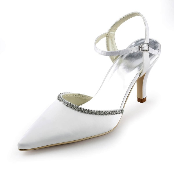 Women's Satin with Buckle Crystal Stiletto Heel Pumps Closed Toe Slingbacks #LDB03030151