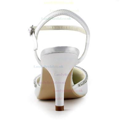 Women's Satin with Buckle Crystal Stiletto Heel Pumps Closed Toe Slingbacks #LDB03030151