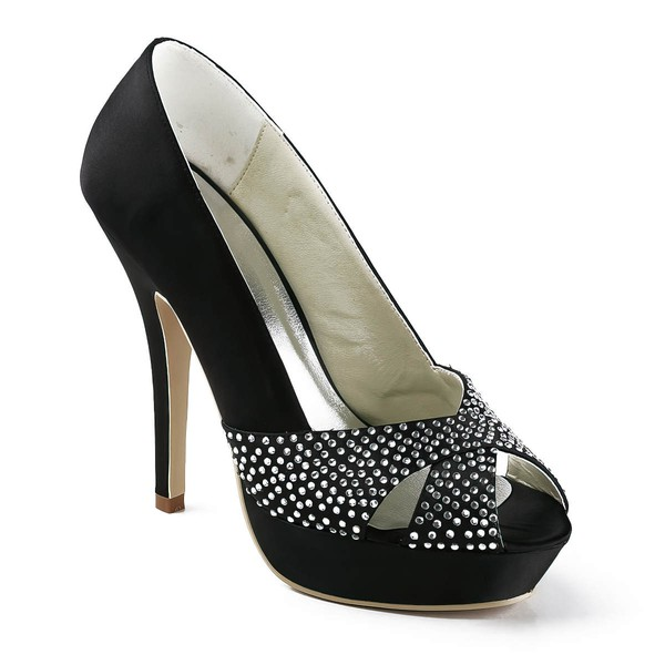 Women's Satin with Crystal Stiletto Heel Pumps Peep Toe Platform #LDB03030153