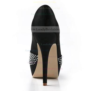 Women's Satin with Crystal Stiletto Heel Pumps Peep Toe Platform #LDB03030153