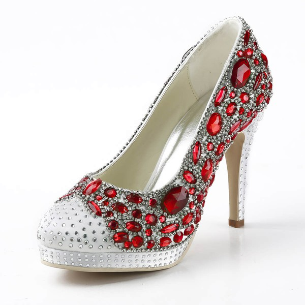 Women's Satin with Rhinestone Crystal Heel Stiletto Heel Pumps Closed Toe Platform #LDB03030154