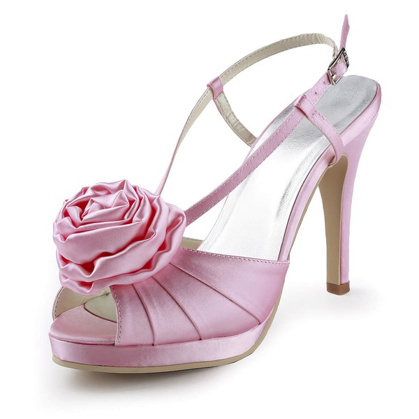 Women's Satin with Buckle Flower Ruched Stiletto Heel Sandals Peep Toe Platform Slingbacks #LDB03030155