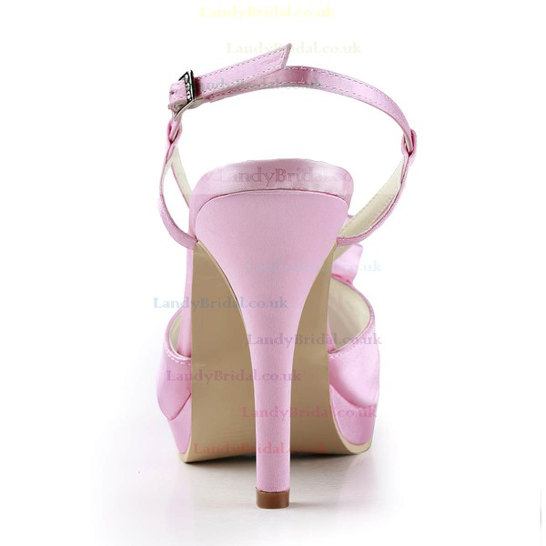 Women's Satin with Buckle Flower Ruched Stiletto Heel Sandals Peep Toe Platform Slingbacks