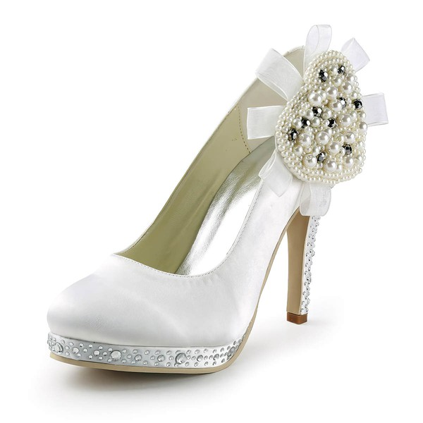 Women's Satin with Crystal Heel Imitation Pearl Stiletto Heel Pumps Closed Toe Platform #LDB03030156