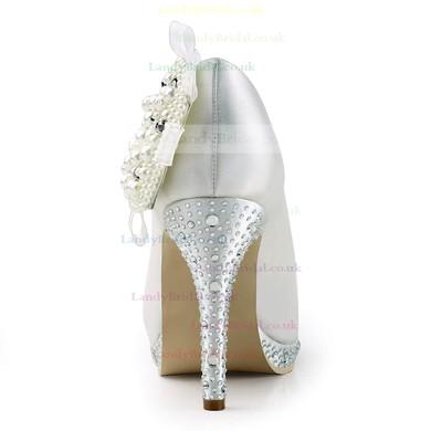 Women's Satin with Crystal Heel Imitation Pearl Stiletto Heel Pumps Closed Toe Platform #LDB03030156