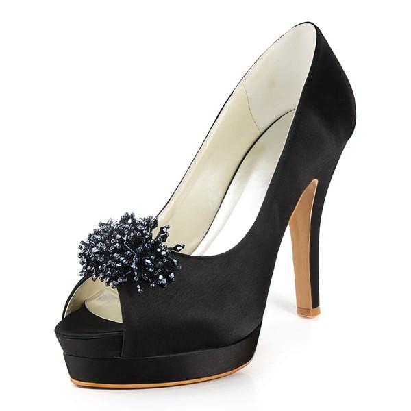 Women's Satin with Beading Stiletto Heel Pumps Peep Toe Platform #LDB03030157
