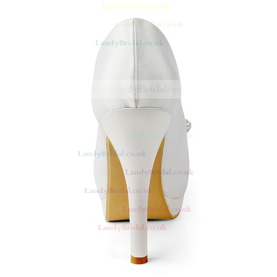 Women's Satin with Sequin Stiletto Heel Pumps Peep Toe Platform #LDB03030158