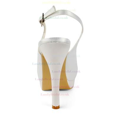 Women's Satin with Buckle Stiletto Heel Sandals Peep Toe Platform Slingbacks #LDB03030159