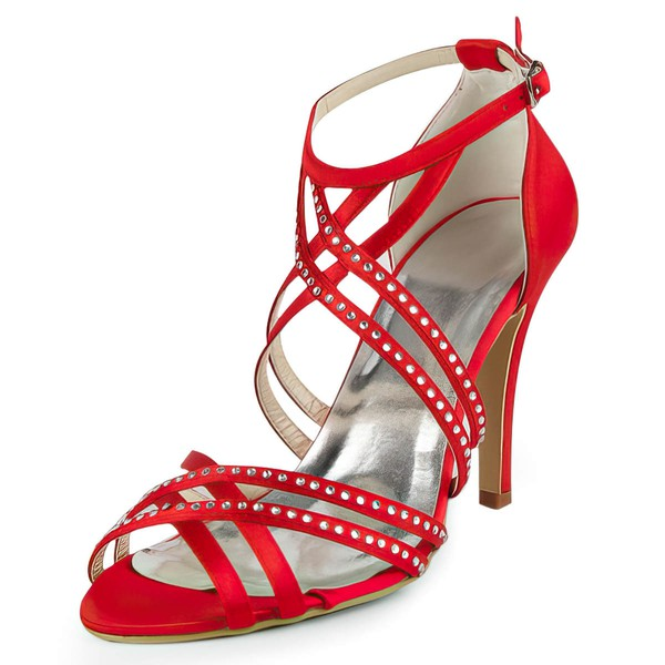 Women's Satin with Buckle Ribbon Tie Beading Stiletto Heel Sandals Peep Toe #LDB03030160