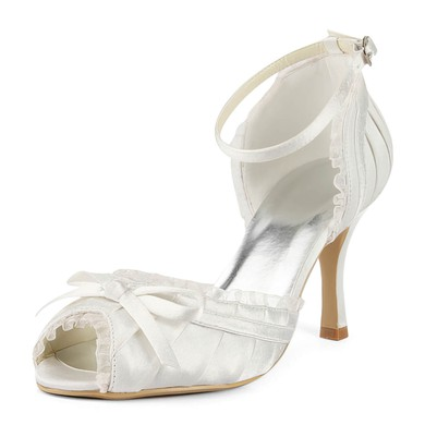 Women's Satin with Buckle Bowknot Stiletto Heel Peep Toe #LDB03030161