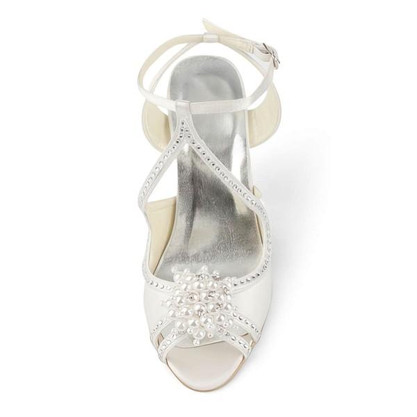 Women's Satin with Buckle Imitation Pearl Beading Stiletto Heel Sandals Peep Toe Slingbacks