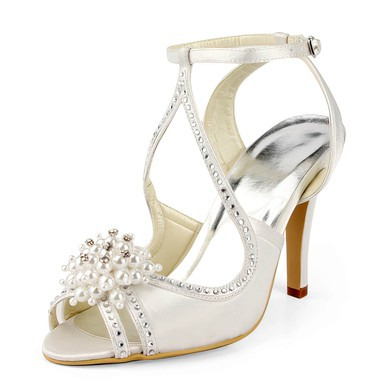 Women's Satin with Buckle Imitation Pearl Beading Stiletto Heel Sandals Peep Toe Slingbacks #LDB03030162
