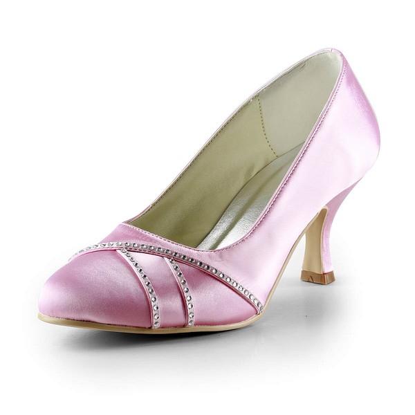 Women's Satin with Beading Spool Heel Pumps Closed Toe
