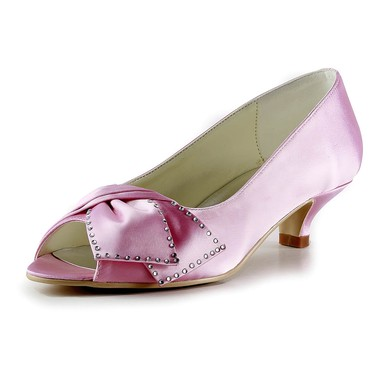 Women's Satin with Beading Kitten Heel Peep Toe #LDB03030164