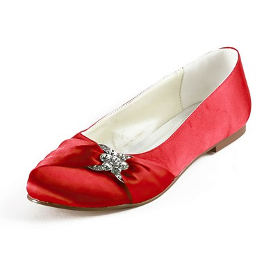 Women's Satin with Crystal Flat Heel Flats #LDB03030165