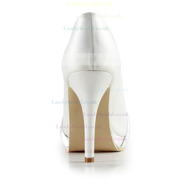 Women's Satin with Crystal Stiletto Heel Pumps Closed Toe Platform