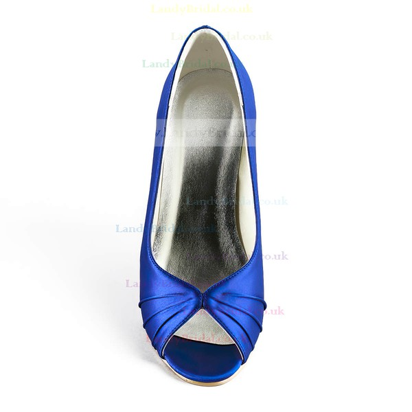 Women's Satin with Ruffles Wedge Heel Peep Toe Wedges