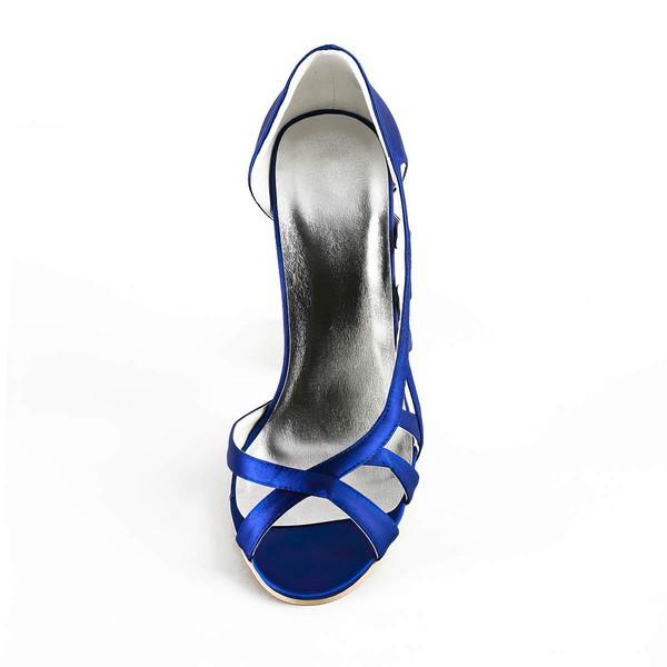 Women's Satin with Ribbon Tie Stiletto Heel Sandals Peep Toe