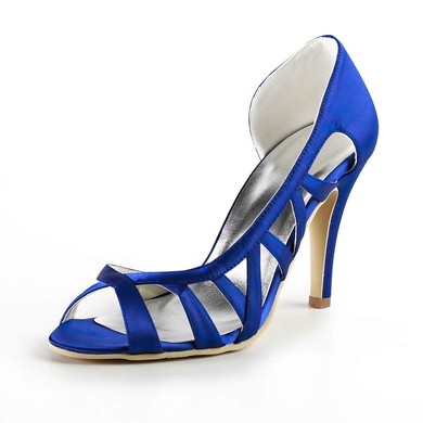 Women's Satin with Ribbon Tie Stiletto Heel Sandals Peep Toe #LDB03030168