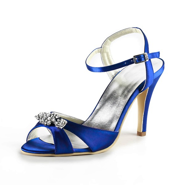 Women's Satin with Buckle Crystal Stiletto Heel Sandals Peep Toe Slingbacks #LDB03030169