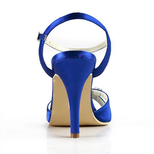 Women's Satin with Buckle Crystal Stiletto Heel Sandals Peep Toe Slingbacks