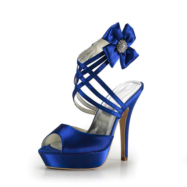Women's Satin with Bowknot Ribbon Tie Crystal Stiletto Heel Sandals Peep Toe Platform Slingbacks #LDB03030170